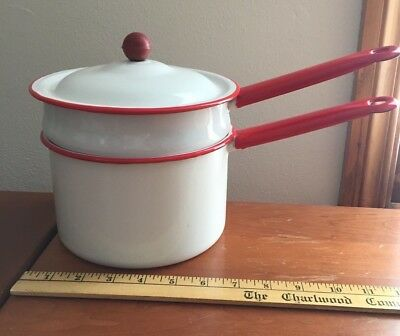 Vintage Enamelware Red and White Double Boiler Pot with Lid Knob Handle Used