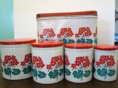 Vintage Metal Canisters plus Bread Box with Red Flowers - 5 pc. Set