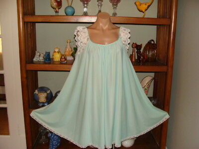 "Womens Vintage Claire Sandra by Lucie Ann Short Nightgown - Bust to 44"" Green"