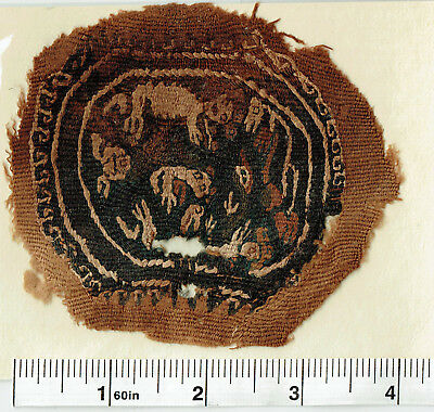 Ancient Coptic Textile Fragment -Lion Animal Pattern, Christian Arts, 4-8th AD