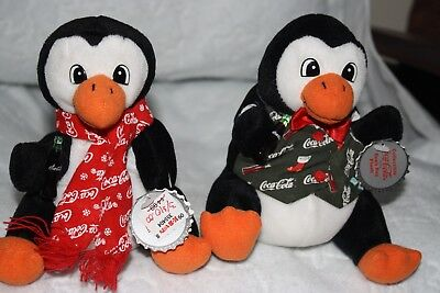 New W/tags Coca-Cola Coke Bean Bag Plush-1998 Christmas Penguins (2)