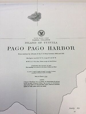 Vintage WW2-era Nautical Chart of Pago Pago Harbor