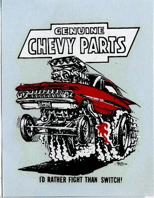 """Geniune Chevy Parts waterslide decal Ed """"Big Daddy"""" Roth Ed Newton"""
