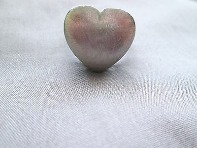 FADI Heart Ring Silver Stainless Steel Size 8.25 8.5 Open Scrollwork Cocktail
