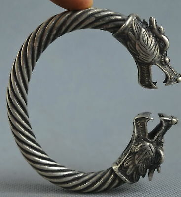 Collectable Handwork Decor Old Miao Silver Carve Mighty Dragon Exorcism Bracelet