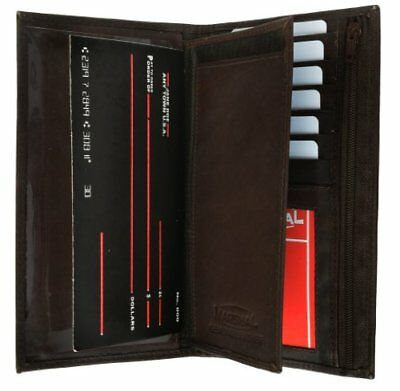Genuine Leather Checkbook Cover Wallet Organizer with Credit Card Holder Brown