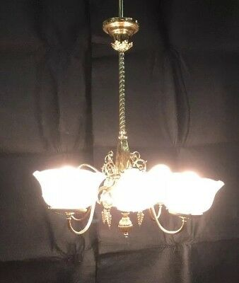 VICTORIAN CIRCA 1890'S RESTORED 8 Arm  GAS & ELECTRIC BRASS CHANDELIER (AA1)