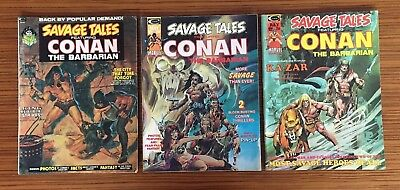 1974 Savage Tales Comic Featuring Conan The Barbarian #2 #4 #5 (Lot of 3)