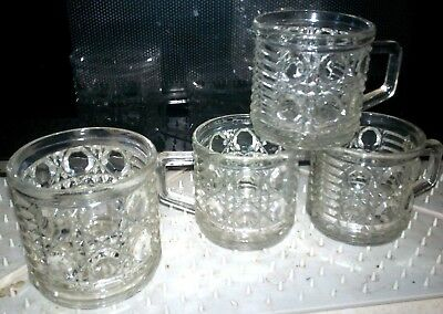 Vtg Federal Clear Glass Windsor Button & Cane 4 Pc Lot> 3 Snack Cup 1 Open Sugar