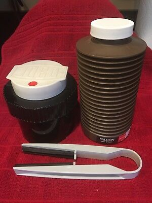 Film developing canister, film squeegee and chemical bottle