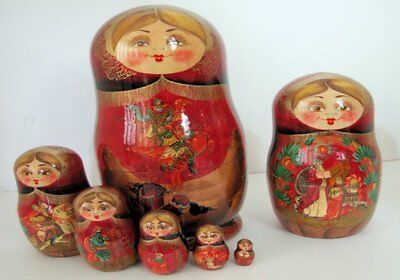 7pcs. Hand Painted Russian Nesting Doll RUSSIAN FOLKLORE W/ FLOWER DECORATIONS