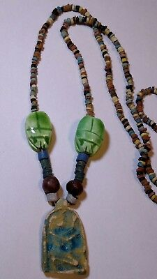 Egptian pharouh's Amulet, Egyptian Necklace Mummy Beads Hand Beaded Terracotta