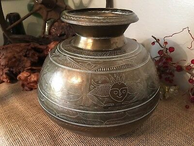 "Vintage Antique Brass Bronze Hindu Hand Chased Heavy Large Vase 9"" Tibet Asian"