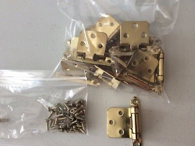 Lot of 12 Brass Plated Kitchen Cabinet Hinges with screws