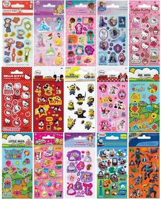 Character Fun Stickers 6 Sheets Party Pack Loot Bag Fillers