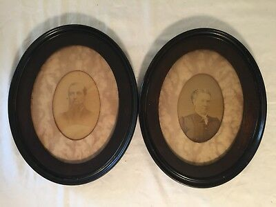 Pair of Antique Victorian Oval Wood Picture Frames With Ancestor Photos
