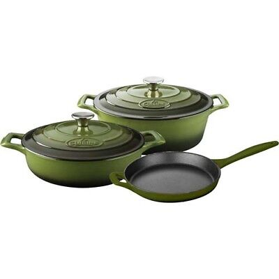 5-Piece Enameled Cast Iron Olive Green Cookware Set Kitchen Casserole Saute Pan