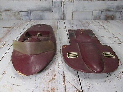 Pair of Estate Vintage Wooden Custom Made Hand Painted Folk Art Speed Boats