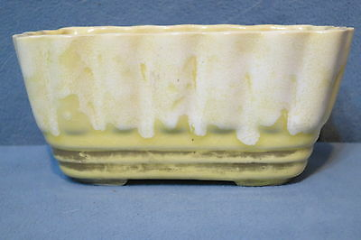 Vintage Brush McCoy Pottery Oblong Planter Yellow w White Drip Gold Trim # 27-6