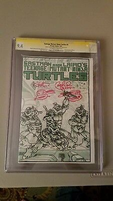 teenage mutant ninja turtles 4 1st printing cgc 9.4 siged kevin eastman and...