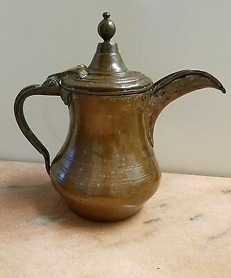 Marked Antique Brass Islamic Ottoman Turkish Coffee Pot Middle Eastern Dallah