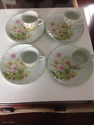"Shafford ""Jade Lily"" Fine Porcelain Snack Plates And Tea Cups, Set Of Four, VGC"