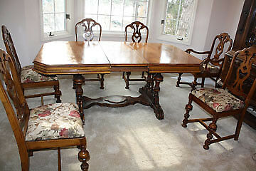 Antique Dining Room Set- Table, 6 Chairs, China Cabinet, Buffet