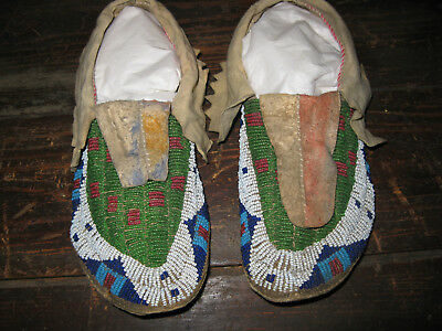 Colorful Sioux Mocassins with Silk Ribbon under Ankle Flap