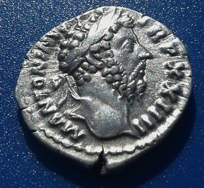 Marcus Aurelius. Denarius. Father to Commodus. Ancient Roman Silver Coin.