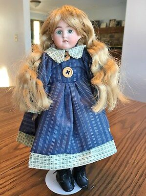 Old antique bisque head blonde German unknown marked character girl doll