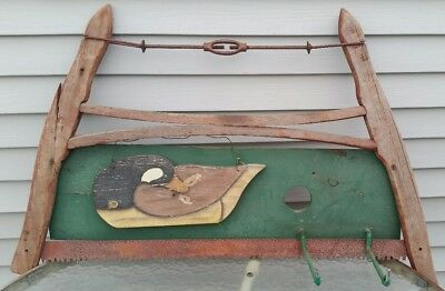 Vintage Bow Buck Saw One Man Wooden Wall Decor Hooks Garage Tool Primitive