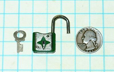 Vtg Antique Old Miniature Small Green & Silver SAFE 20mm Padlock Lock and Key