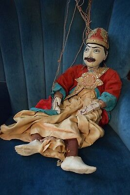 """Antique 19th C Burmese Wooden Hand Crafted """"Yoke thé"""" Traditional 27"""" Marionette"""