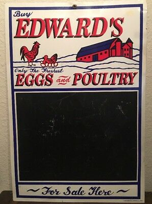 Embossed Edwards Eggs & Poultry Tin Chaulkboard Sign! AAA Sign Co. 1991