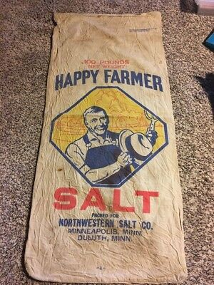 Vintage Cloth Happy Farmer Michigan Salt Sack Northwestern Salt Co.  Feed Seed