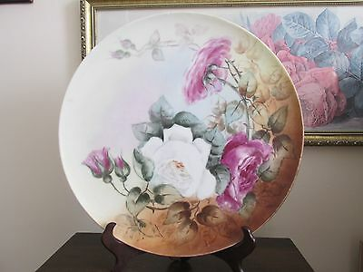 """T & V Limoges France Hand Painted Red And White Roses Tray Charger Plate 13.5"""""""