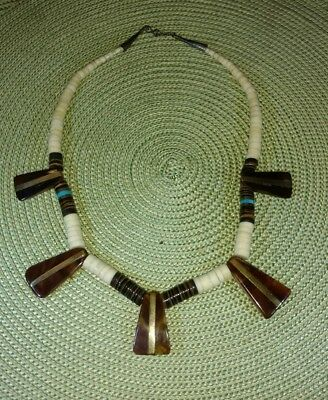 Vintage Zulu South African Necklace Graduated Beads Wood & Brass
