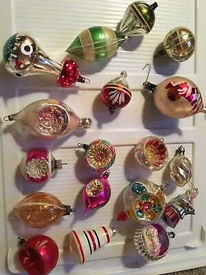 Lot of 21 Mixed Vintage Glass Christmas Ornaments
