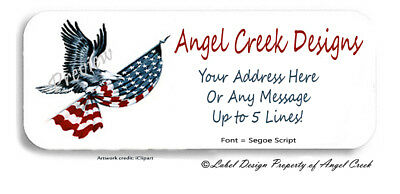 USA American Flag Eagle Stars and Stripes Personalized Return Address Labels F5