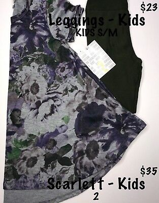 NWT Lularoe Scarlett Size 2 Antique Floral & S/M Army Olive Green Solid Leggings
