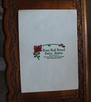 Lot 6 Unused Butter Wrapper Rose Bud Farmers Dairy Carlos Indiana