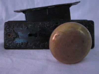 Antique Vintage Brass Door Knob Set w/ Lock and Plates
