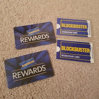4 Blockbuster Video Membership Cards,  one issued in 09, 06 and two rewards