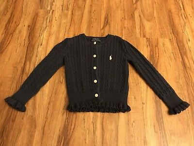 Ralph Lauren Polo Toddler Girl Navy Blue Cable Knit Cotton Cardigan Sweater 2/2T