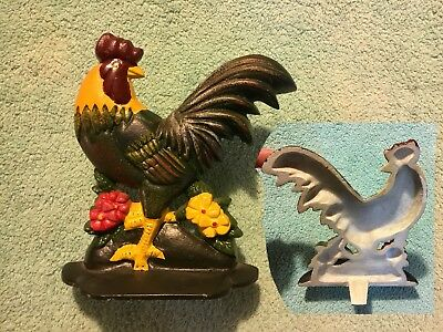 VINTAGE CAST IRON ROOSTER CHICKEN DOOR STOP FOLK ART FARMHOUSE COUNTRY Heavy