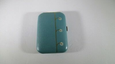 Vintage 50's Buxton Key-Tainer Saddle Cowhide Leather Blue Hard Key Case Floral