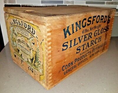 Vintage Old Wood Kingsford's Silver Gloss Starch Corn Products Dove Tail Box