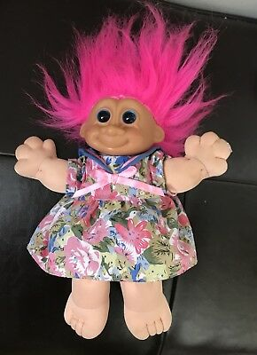 """Russ Troll Doll Hot Pink Hair 8"""" Soft Cabbage Patch Body"""