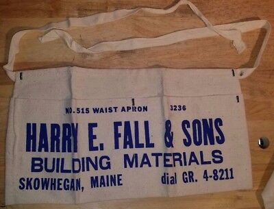 Vintage HARRY E. FALL & SONS Carpenters Nail Pouch Tool Belt SKOWHEGAN ME Maine