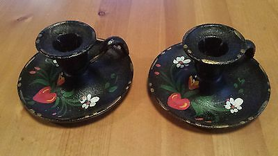 2 Cast Iron Candle Stick Holders Hand Painted Pennsylvania Dutch Amish Design?